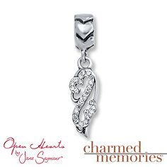 Charmed Memories Open Hearts Angel Wing Sterling Silver  Charm