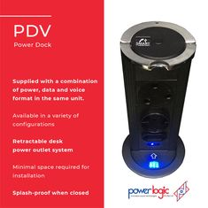 The PDV is an in-desk mounted power unit that can be concealed when not in use.  Features:  🔌Supplied with a combination of power, data and voice format in the same unit. 🔌Available in a variety of configurations 🔌Retractable desk power outlet system 🔌Minimal space required for installation 🔌Splash-proof when closed (IP54 rated)