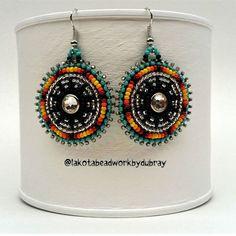 Beaded Earrings. For sale in our Etsy shop. Link in bio. #native #nativeamerican #beadwork #nativebeadwork #oglalalakota #lakota #lakotabeadwork #earrings #beadedjewelry #beadedearrings #bling #crystalearrings #preciosa #crystal #turquoise #etsy #etsyseller #etsyshop #beading