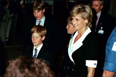 July 11, 1996: Diana, William and Harry  at the Royal Tournament, Earls Court, London.