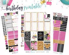 Birthday Weekly Kit // Happy Planner // Printable Planner Stickers // Cut Line Files // Silhouette // Planner Printable by BEaYOUtifulPlanning on Etsy