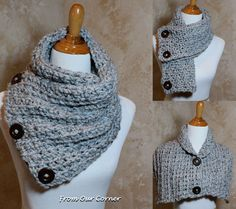 3 Button scarf Grey Tweed Crochet Scarf by My2ShayFromOurCorner