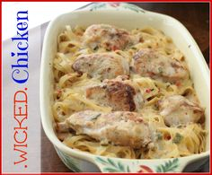 Wicked Chicken is wicked good and wicked easy. Made with just 3 ingredients, this chicken and pasta recipe is a piece of cake to throw together. When you don't have much time to cook dinner for your family, whip up this easy dish. It will save Casserole Recipes, Pasta Recipes, Chicken Recipes, Cooking Recipes, Chicken Casserole, Chicken Pasta, Chicken Alfredo, Recipe Chicken, Garlic Chicken