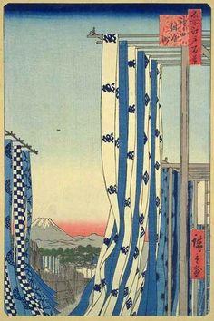 "Dyers' Quarter, Kanda by Ando Hiroshige From ""One Hundred Famous Views of Edo"" Ukiyo-e (Woodblock Print) Japanese Woodcut, Japanese Illustration, Art Japonais, Japanese Painting, Japanese Prints, Japan Art, Woodblock Print, Oriental, Artwork"