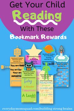These are bookmark rewards that you can printout and give your child. It will help them be encouraged to read. A great way make reading fun for kids. Make it into a fun reading activity #readingprintable #readingforkids #makingreadingfun Gross Motor Activities, Educational Activities For Kids, Steam Activities, Learning Toys, Reading Activities, Preschool Activities, Reading Bookmarks, Kids Reading, Kids Education