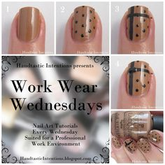 Handtastic Intentions: Work Wear Wednesdays: Tan and Black Polka Dots Tutorial