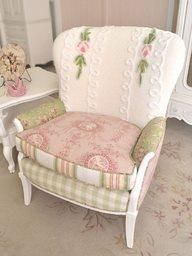 Shabby chic bedroom chair very comfy looking... with a chenille bedspread used... green plaid... pink floral .... lots of pretty here!