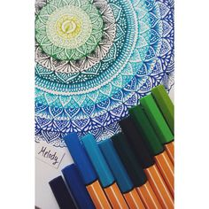 "@melosza on Instagram: ""#art #mandala #myart #colorful #greens #blues #stabilopoint88 #zentangle #drawing #doodle #summer #august #love"""