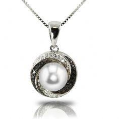 Imperial Pearls - 7.5 - 8 mm AA Fresh Water Pearl with black and white diamond swirl pendant