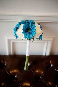 Turquoise and Cream Gerbera and Rose Hand-Tied Bouquet. I think I'd like with yellow instead of white :)