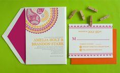 Letterpress Hindu Indian Morrocan Pink and Yellow Wedding Invitation. $10.00, via Etsy.