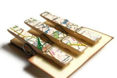 Maps on clothespins