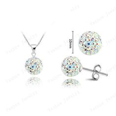Wedding Classic Style Crystal Sets Mix Colors Crystal Pendants Stud Earrings Micro Pave CZ Disco 10mm Beads Jewelry Sets SHSE51