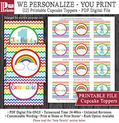 """Rainbow Cupcake Toppers - Printable Rainbow Birthday 2"""" Cupcake Toppers by PuggyPrints on Etsy"""