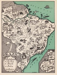 Charming BRAZIL Map ORIGINAL Map of Brazil  by plaindealing
