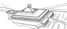 Posible reconstrucción del templo de Mentuhotep.   Se creía que una pirámide coronaba el monumento pero Dieter Arnold concluyó que la estructura no habría soportado el peso. Se han propuesto dos hipótesis más, con un altar o bien con un montículo de arena (el que se reproduce en esta imagen).