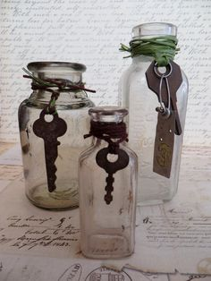 Three Vintage Bottles With Skeleton #Keys by tuscanroad on Etsy
