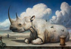 Martin Wittfooth creates thought-provoking surreal animal paintings in wich he explores the interactions between the industrial age and the nature. Martin Wittfooth, Rhino Art, Illustration Blume, Surrealism Painting, Majestic Animals, Wow Art, Rhinoceros, Grafik Design, Surreal Art