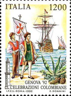 Celebrazioni Colombiane ,Genova '92. Stamp from Italy, circa 1992
