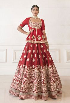 Dense Red Raw Silk Lehenga   Manish Malhotra Raw Silk Lehenga, Indian Lehenga, Lehenga Blouse, Anarkali Dress, Indian Bridal Wear, Indian Wedding Outfits, Lehenga Color Combinations, Designer Party Wear Dresses, Indian Gowns Dresses