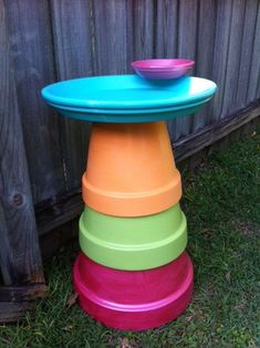 Clay pot bird bath and feeder in Caribbean colors.