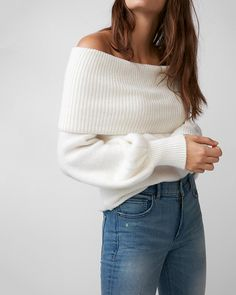 """Cozy up in this soft, off-the-shoulder sweater, made with a touch of wool to keep you warm in style. Designed to fit and flatter your 5'4"""" and under frame."""