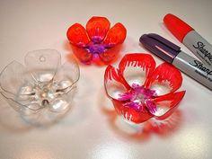 upcycling flaschen, marker, blumen basteln und bemalen