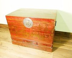 Antique Chinese Hand Painted Trunk (5706), Red Lacquer , Circa 1800-1849