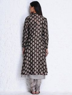 Brown-Grey Block Printed Chanderi Jacket with pockets by Jaypore