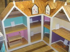Built by my dad for my daughter and her growing American Girl doll collection! American Girl House, American Girl Crafts, Doll Furniture, Dollhouse Furniture, Wooden Dollhouse, American Girl Furniture, Girls Dollhouse, Our Generation Dolls, Barbie Doll House