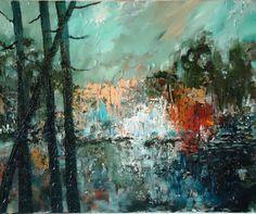 "I love this color palette  Saatchi Online Artist: Piotr Dryll; Oil, Painting ""jesienna impresja"""