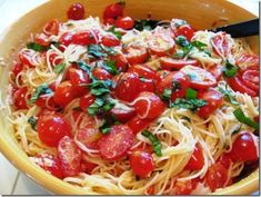 Summer Garden Pasta--This was sooo good! I added chicken when cooking, and let the 'sauce' marinate overnight. Yum!