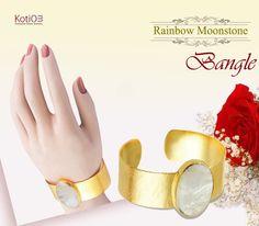 Make your hand more beautiful with this gorgeous Bangle  #rainbowmoonstone #moonstone #stone #gemstonebangle #bangle #lapisjewelry #ring #love #feel #enjoy #happy #gift #giftforher #loveygift #giftforwife #weddinggift #anniwarsarygift #jewelry #rings #earrings #bangle #bracelets#necklaces #handmadegemstonesilverjewelry #silverjewrelry #handmadegemstonejewelry #nosering #nosepin #nosejewelry #kotiom #Like #facebook