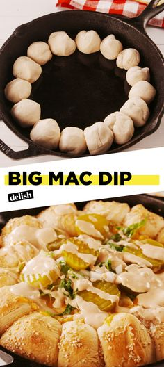 McDonald's fans, this Big Mac Dip will be the star of EVERY party. Get the recipe at Delish.com. #recipe #easy #easyrecipe #dip #appetizer #party #partyfood #partyideas #bigmac #cheese #pickles #mcdonalds