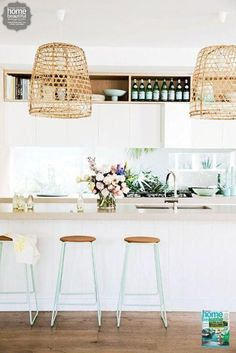 """I would put industrial light fixtures instead if the wicker. Or maybe a metal """"birdcage"""" light. I wanted one so badly for our hallway but it was too """"tall"""""""