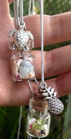 Hawaiian beach in a bottle pendant sand shells aquamarine