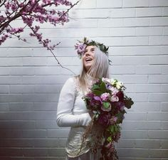 Cascading bouquet and flower crown by Love Alice & CO.