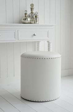 White Dressing table stool with silver studs. The White Lighthouse offers a range of furniture and accessories with a combination of Coastal, Scandi, Danish, French, Shabby Chic and New England styles