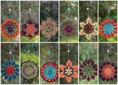Crochet dreamcatcher, mandala window hanger, lace suncatcher in turquoise and green colors, beaded