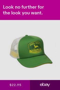 515430066ad John Deere Mens Quality Equipment Foam Trucker Hat Cap Green White Vintage  New