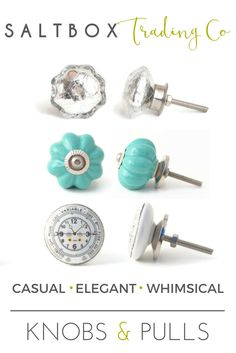 Pin now, shop later.  Whether your style is casual, whimsical, or elegant, you can turn your furniture into unique statement pieces with knobs and pulls from SaltBox Trading Co.