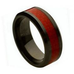 Ceramic Ring  FREE ENGRAVING  Wedding Red Carbon fiber Inlay  Band MMCR241 8mm Black  Ceramic engagement ring via Etsy