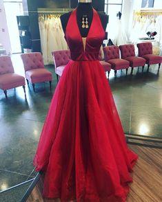 Elegant Halter Red Long Prom Dress Evening Dress Strapless Prom Dresses, V Neck Prom Dresses, A Line Prom Dresses, Pageant Dresses, Sexy Dresses, Dress Prom, Party Dresses, Dress Long, Dress Formal