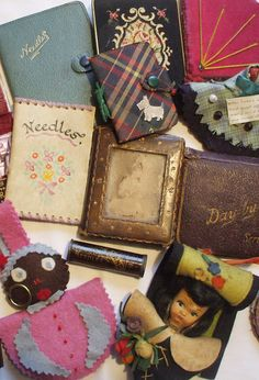 Vintage Needle Cases.  Love the Tartan/Scotty dog one.