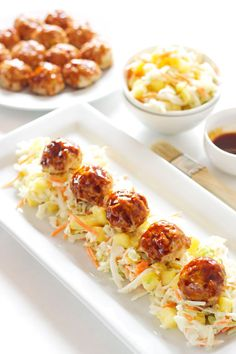 Asian Meatballs with Pineapple Slaw from @reciperunner
