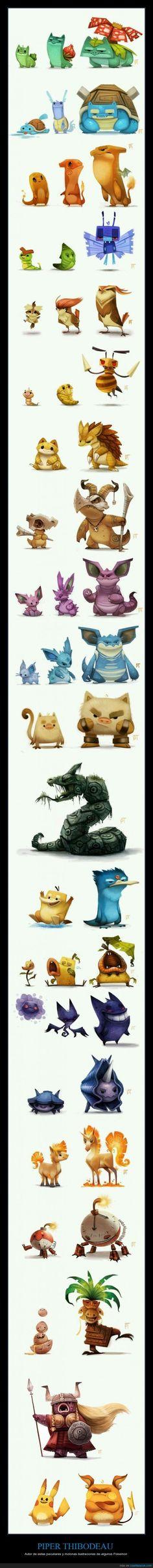 PIPER THIBODEAU - Autor de estas peculiares y molonas ilustraciones de algunos Pokemon