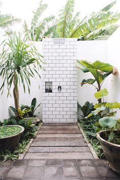 White&Green outside shower
