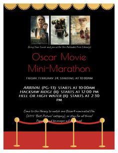 Oscar Movie Mini-Marathon: Friday, February 24, 2017