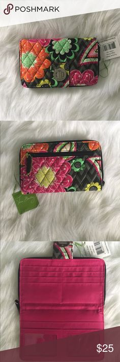 🌸🆕Vera Bradley Turn Lock Wallet Ziggy Zinnia🆕🌸 😍This stylish, functional wallet is made from quilted cotton in the beautiful floral Ziggy Zinnia print.  It features a front section with a turn lock closure, a gusseted compartment with a zipper along three sides to keep everything secure yet easily accessible, and an external zippered pouch for change.  Opening the turn lock reveals two bill pockets, six card slots, and two ID card windows.  The zippered section includes an additional…
