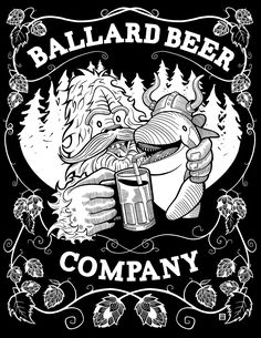 """I was asked to create an alternate version of the """"Pals"""" tee for the Ballard Beer Company with simplified text framed by hop vines. Hops Vine, Text Frame, Beer Company, Tees, Creative, Illustration, T Shirts, Tee Shirts, Illustrations"""